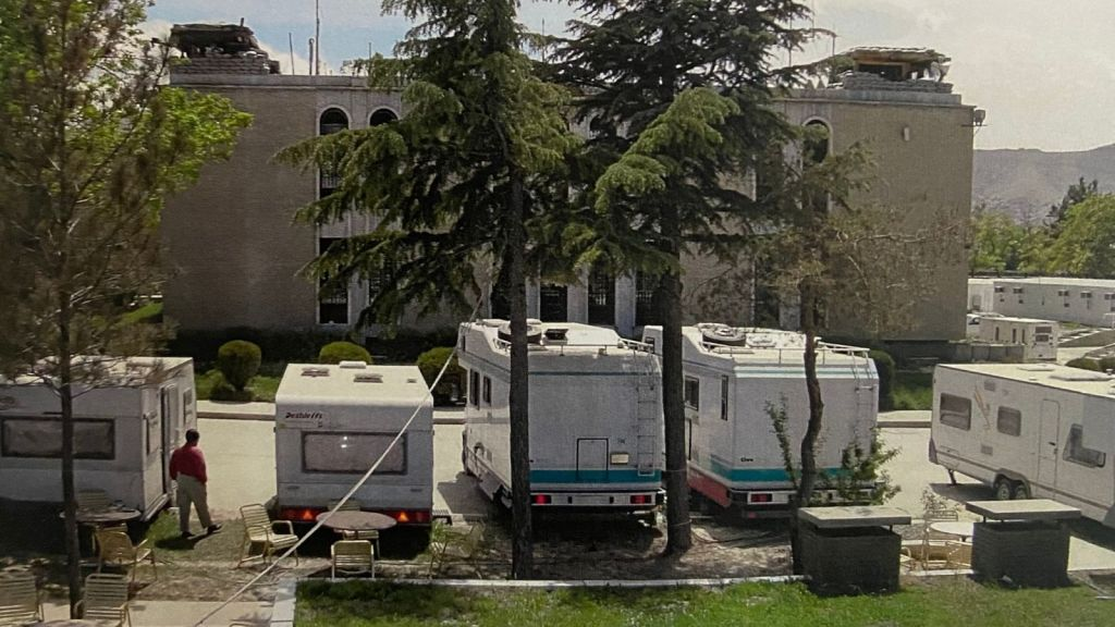Home sweet camper, outside Heaven. The codename for the embassy.